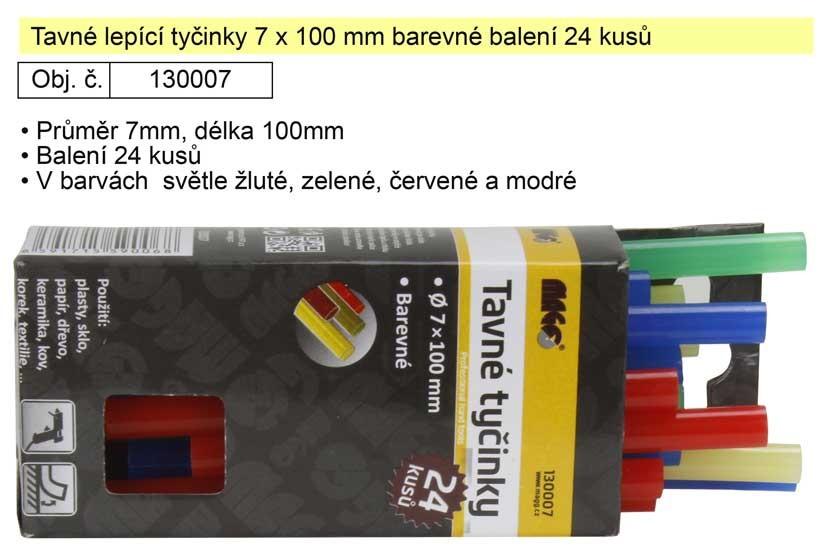 Tavné lepicí tyčinky MAGG 7x100mm balení 24ks barevné 130007