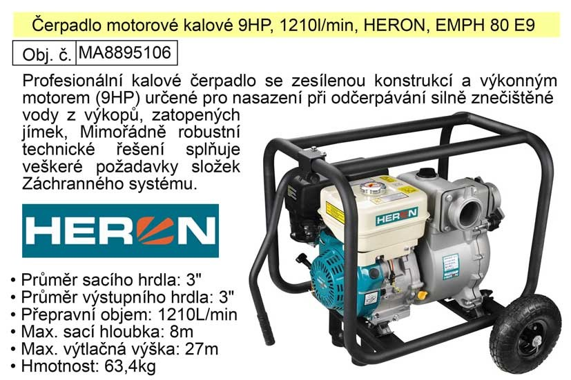 Benzínové čerpadlo kalové HERON 6,7KW, 1210 l/min. 9HP 8895106