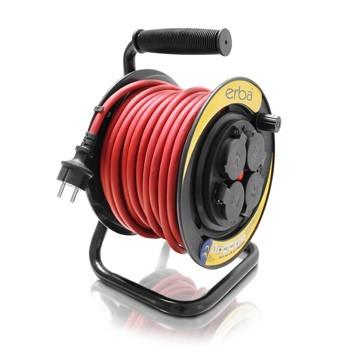 Prodlužovací kabel ERBA 25m, na cívce 4x zásuvka ER-11053