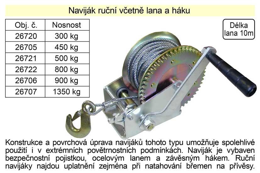 Naviják ruční včetně lana a háku, nosnost 800kg 26722