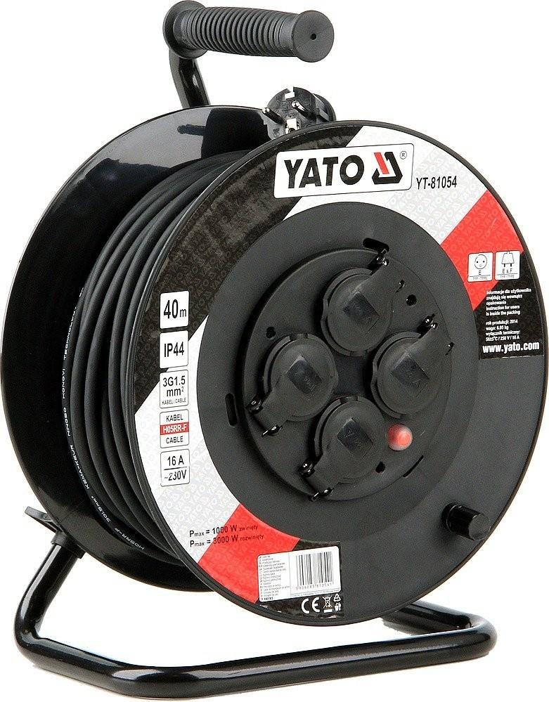 Prodlužovací kabel YATO 40m, 4 zásuvky buben IP44 16A YT-81054