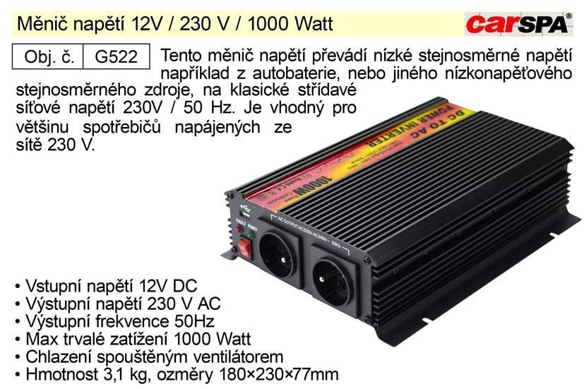 Měnič napětí CARSPA 12V / 230 V / 1000 Watt G522