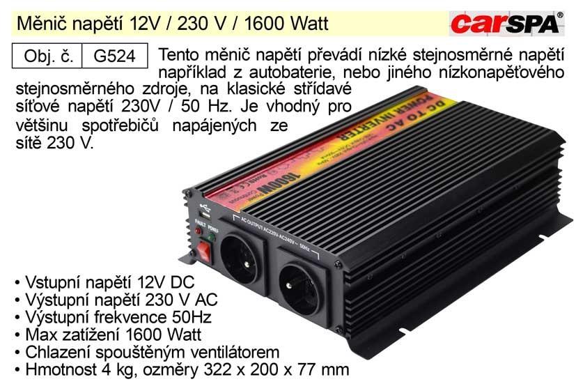 Měnič napětí CARSPA 12V / 230 V / 1600 Watt G524