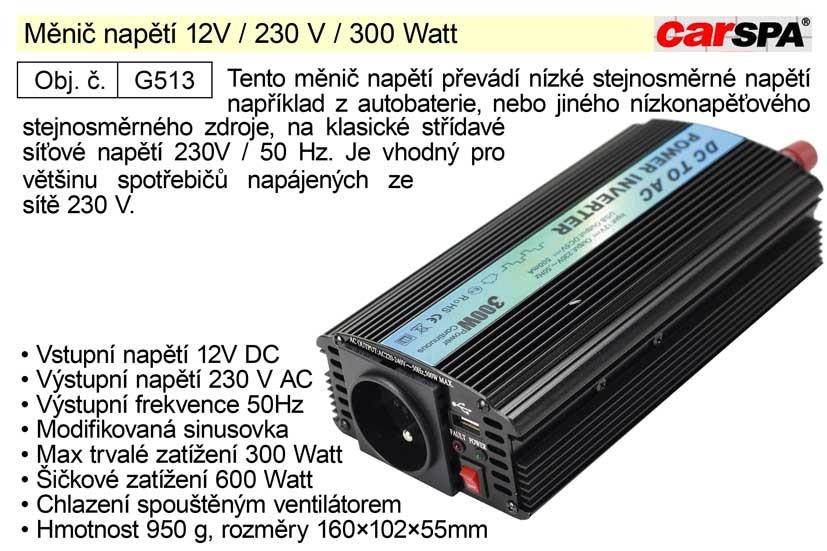 Měnič napětí CARSPA 12V / 230 V / 300 Watt G513