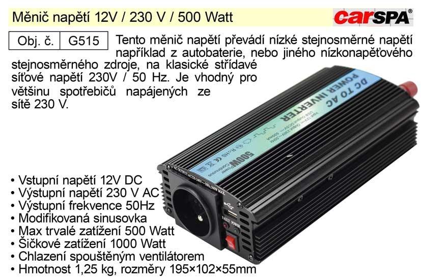 Měnič napětí CARSPA 12V / 230 V / 500 Watt G515