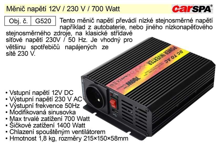 Měnič napětí CARSPA 12V / 230 V / 700 Watt G520
