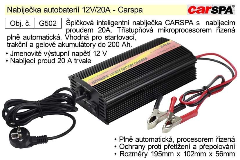 Nabíječka baterií CARSPA 12V, 20A G502