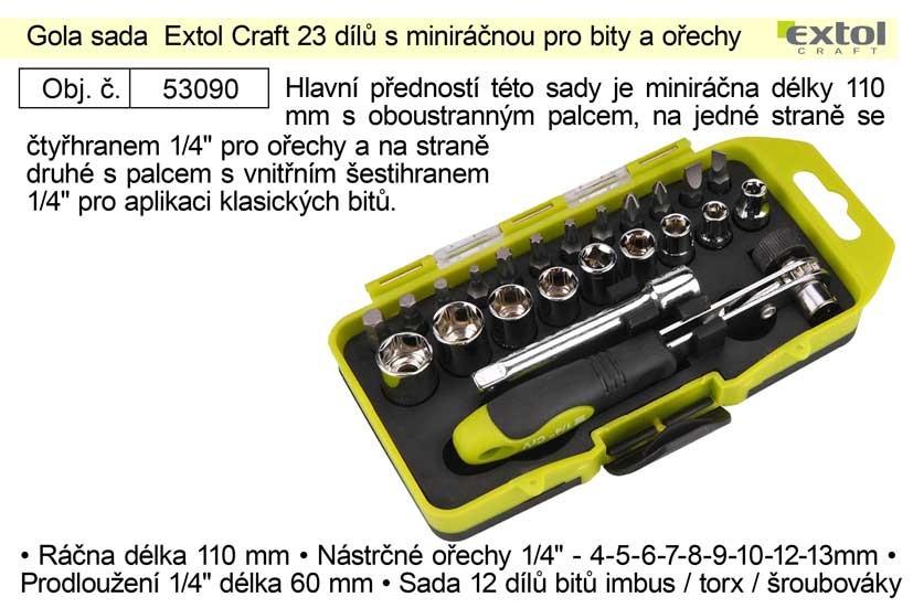 "Gola sada EXTOL 1/4"" 23ks, 4-13mm, s miniráčnou pro bity a ořech"