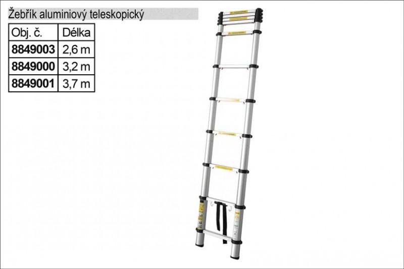 Žebřík EXTOL Alu teleskopický 2,6m 8849003