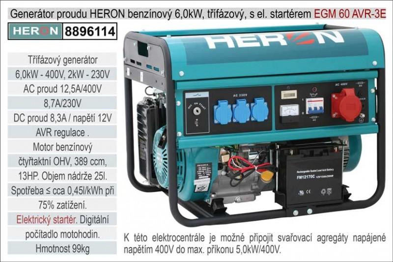 Generátor proudu benzínový HERON 6,0kW, třífázový, - elektrický