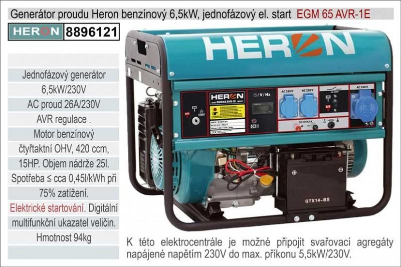 Generátor proudu benzínový HERON 6,5kW, jednofázový - elektrický
