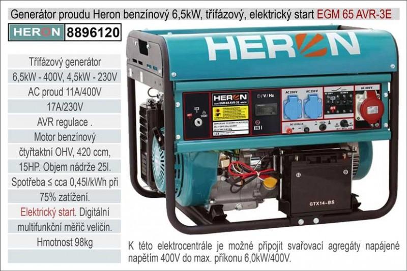 Generátor proudu benzínový HERON 6,5kW, třífázový + jednofázový