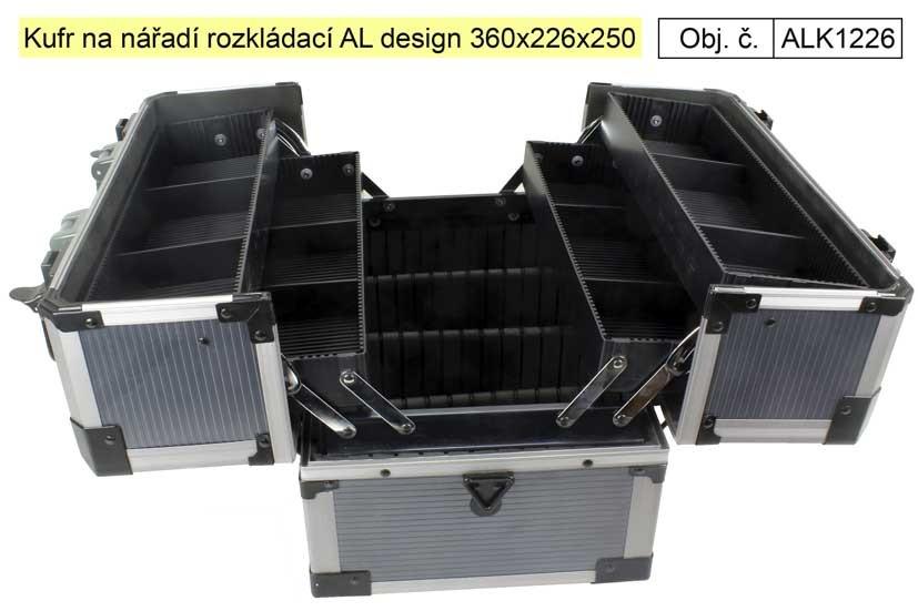 Kufr na nářadí AL design okované hrany rozkládací ALK1226
