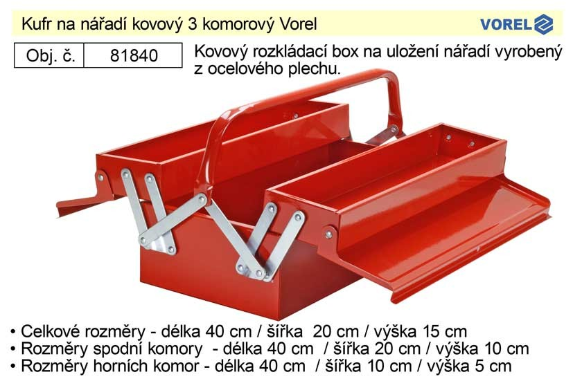 Kufr na nářadí kovový VOREL 40x20x15cm 3 příhradový 81840