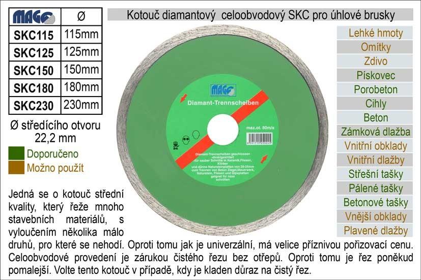 Diamantový kotouč celoobvodový MAGG 125mm SKC125