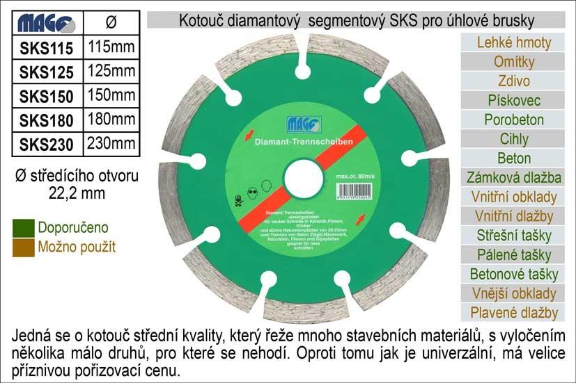 Diamantový kotouč segmentový MAGG 125mm SKS125