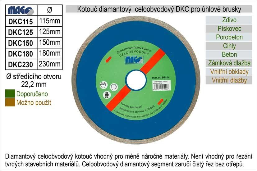 Diamantový kotouč celoobvodový MAGG 125mm DKC125