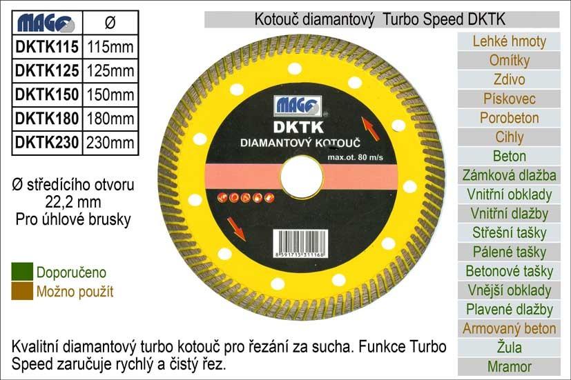 Diamantový kotouč MAGG turbo- speed 230mm DKTK230