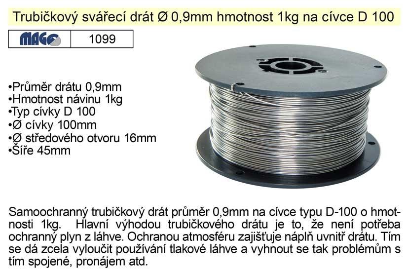 Drát svářecí MAGG trubičkový 0,9mm 1 kg 1099