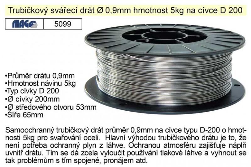 Drát svařovací MAGG trubičkový 0,9mm/5kg na ocel 5099