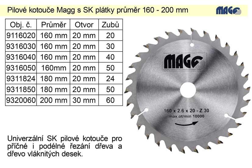 Kotouč pilový vidiový MAGG 160x20zx20mm 9116020