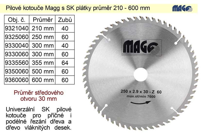 Kotouč pilový vidiový MAGG 250x60zx30mm 9325060