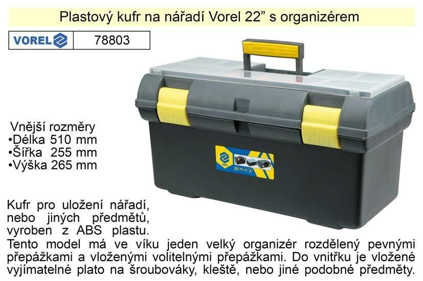 """Plastový kufr na nářadí VOREL 22"""" s organizérem 78803"""