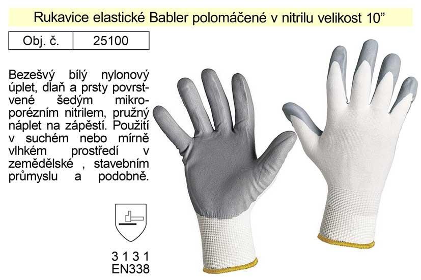 Pracovní rukavice polomáčené v nitrilu Babbler elastické vel. 10