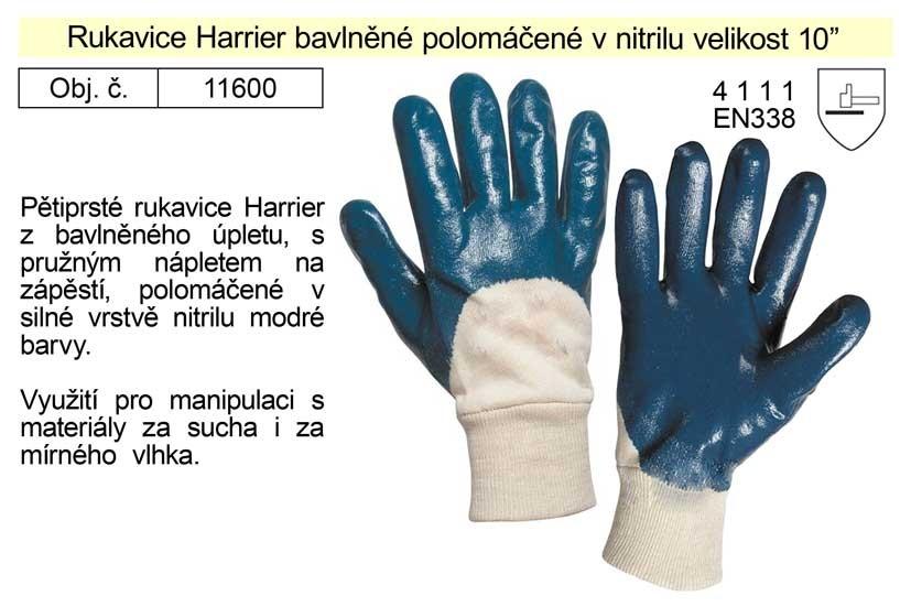 """Pracovní rukavice polomáčené v nitrilu Harrier bavlněné vel. 9"""""""