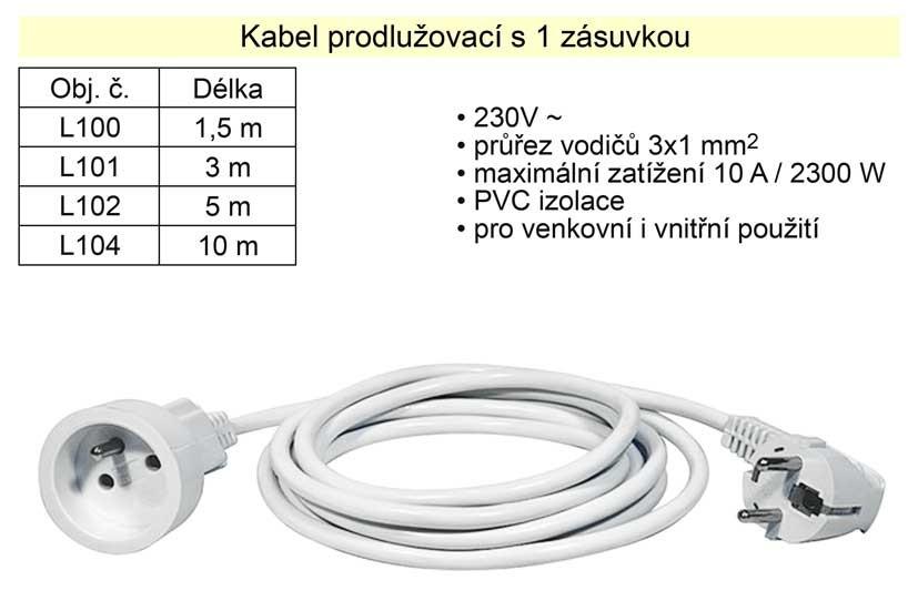 Prodlužovací kabel HADEX 1 zásuvka délka 3 m L101