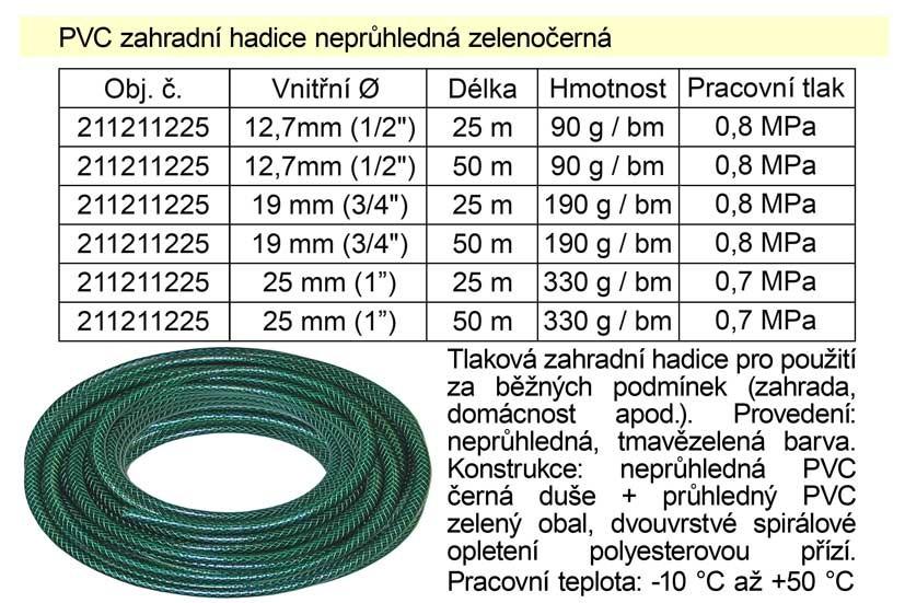 """PVC Zahradní hadice 3/4"""", 50m 211213450"""