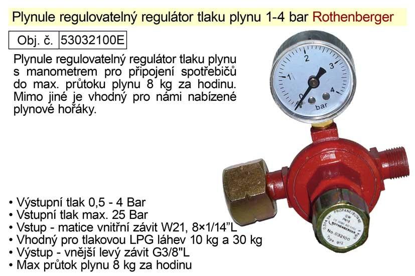 Regulátor tlaku plynu ROTHENBERGER 1-4bar regulovatelný s manome