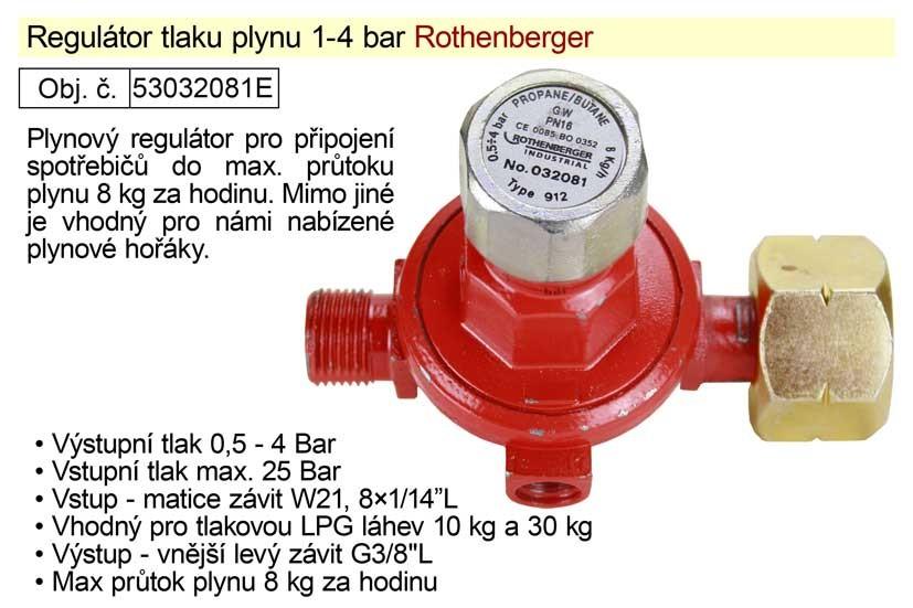Regulátor tlaku plynu ROTHENBERGER 1-4bar vhodný pro plynové hoř