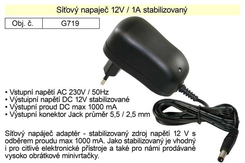 Síťový adaptér 230V ,12V 1A stabilizovaný G719