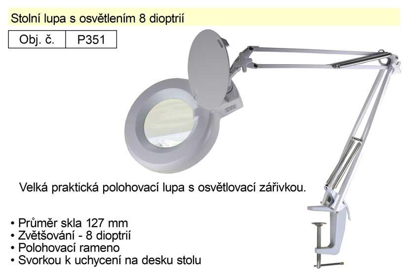Stolní lupa s osvětlením HADEX 8 dioptrií P351