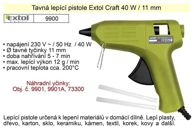 Tavná lepící pistole EXTOL 40W, 11mm 9900