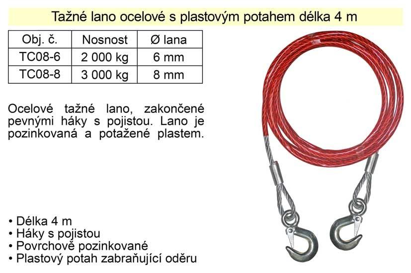 Tažné lano ocelové nosnost 2000kg TC08-6