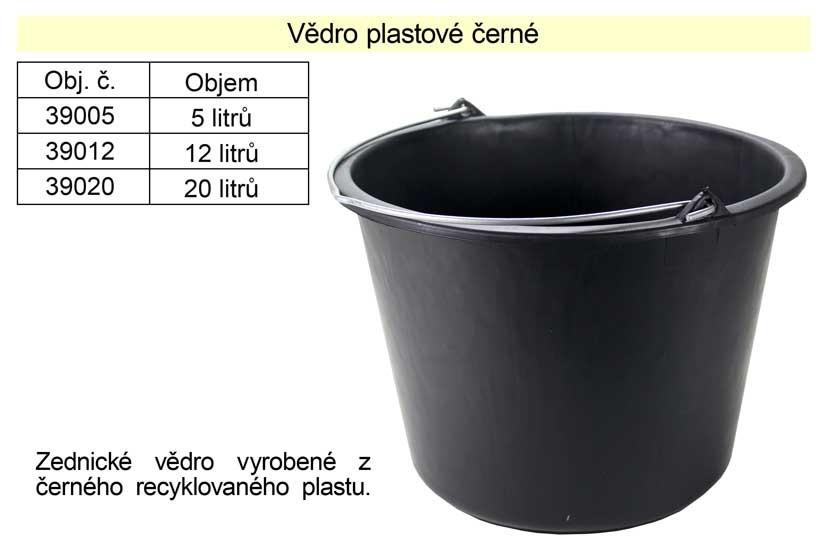 Vědro plastové černé 12L 39012