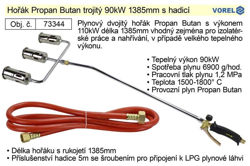 Hořák Propan Butan VOREL 90kW, 1385mm trojitý s hadicí 73344
