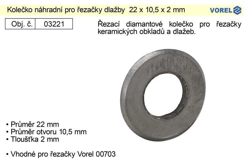 Kolečko náhradní pro řezačky dlažby VOREL 22x10,5x2mm 03221