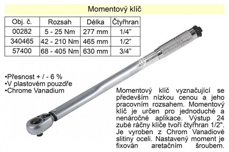 """Momentový klíč TRIUMF ohybový 5 - 25Nm, 1/4"""" 00282"""
