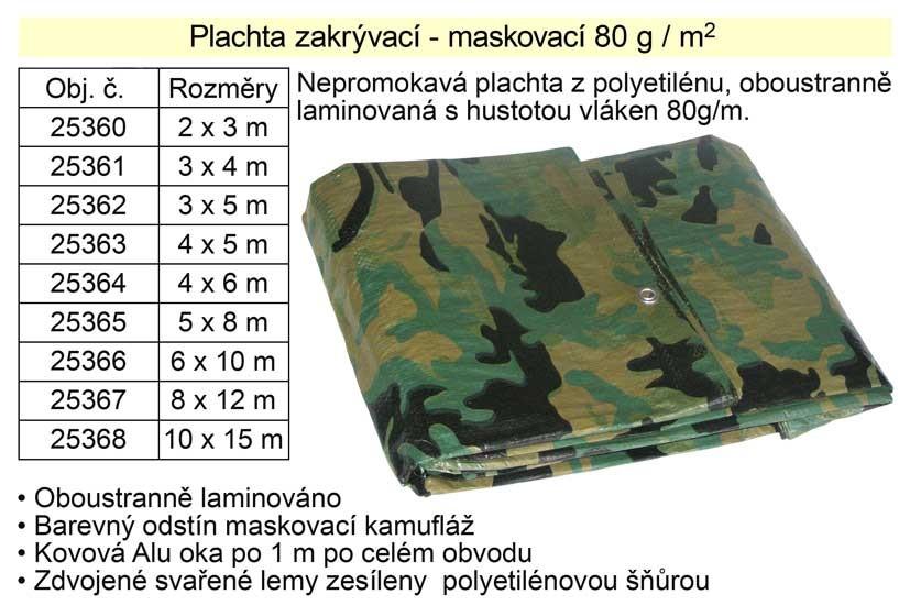 Nepromokavá plachta FESTA 6x10m maskovací 80g/m 25366