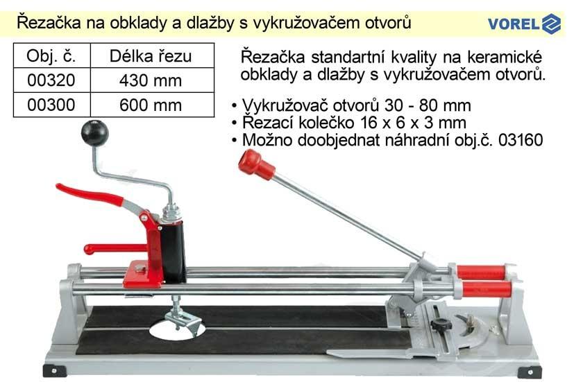 Řezačka na obklady a dlažby VOREL délka 600mm s vykružovačem otv