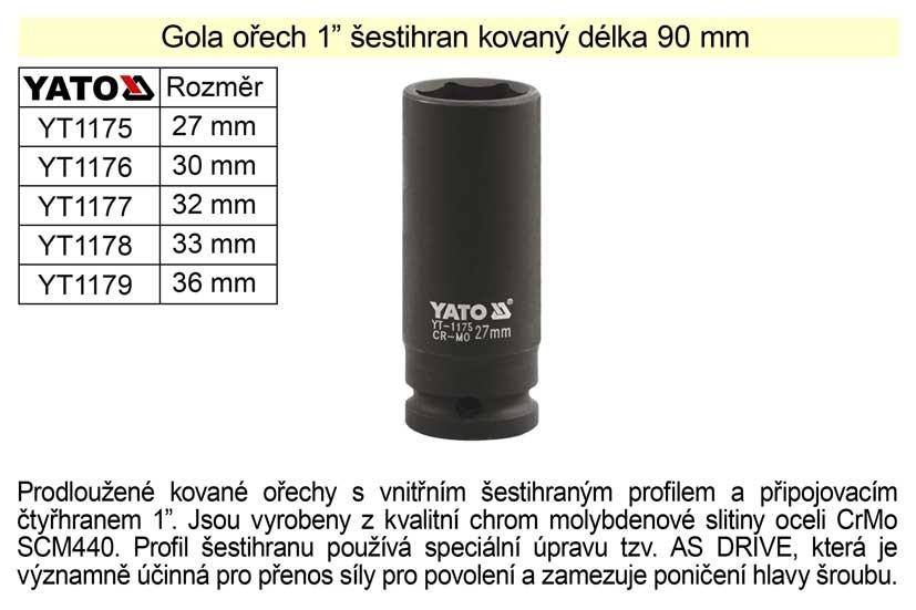 """Gola ořech YATO 36mm šestihran 1"""" kovaný prodloužený YT-1179"""