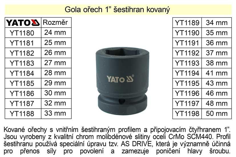 """Gola ořech YATO 36mm šestihran 1"""" kovaný YT-1191"""