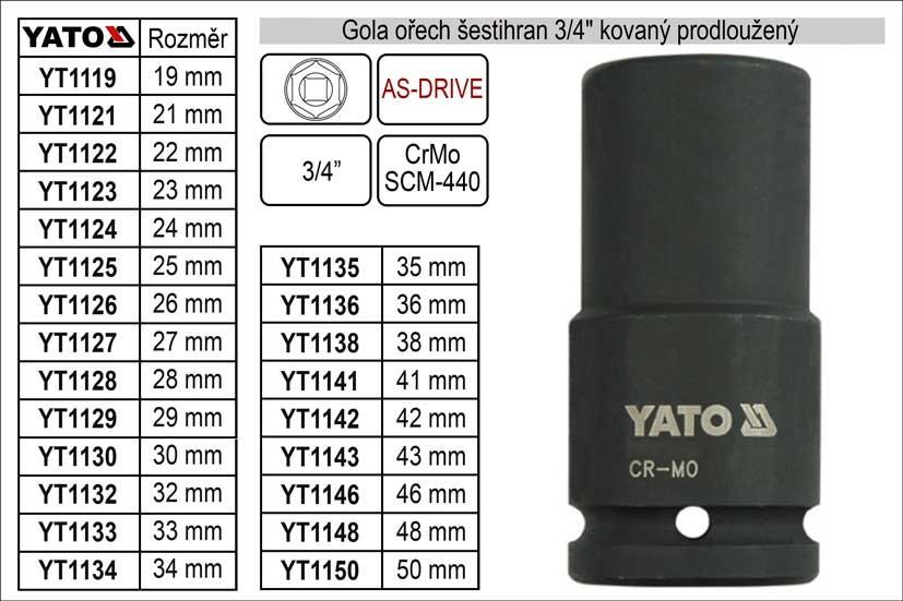 """Gola ořech YATO šestihran 3/4"""" 36mm kovaný prodloužený YT-1136"""