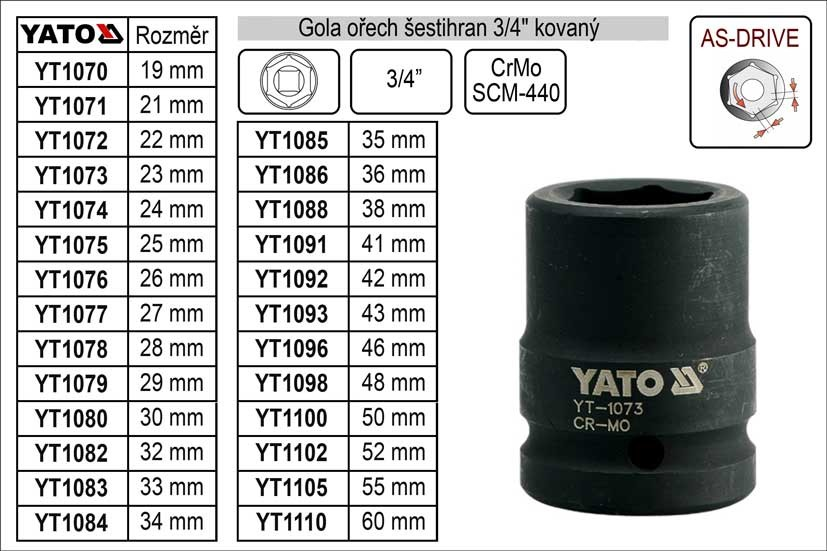 """Gola ořech YATO šestihran 3/4"""" 36mm kovaný YT-1086"""