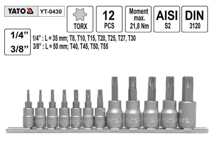 "Gola ořechy TORX YATO 1/4+3/8"", sada 12ks, T8-T55 YT-0430"