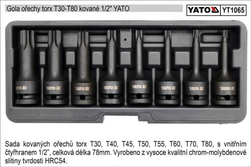 """Gola ořechy TORX YATO T30-T80 kované 1/2"""" , sada 8 kusů YT-106"""