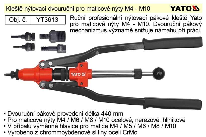 YATO Kleště nýtovací na maticové nýty M4-M10, 440mm YT-3613